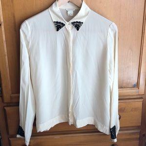 Club Monaco 100% Silk Shirt Blouse Top - Large